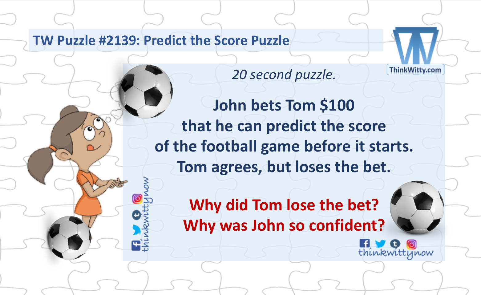 Predict the Score Riddle - Think Witty