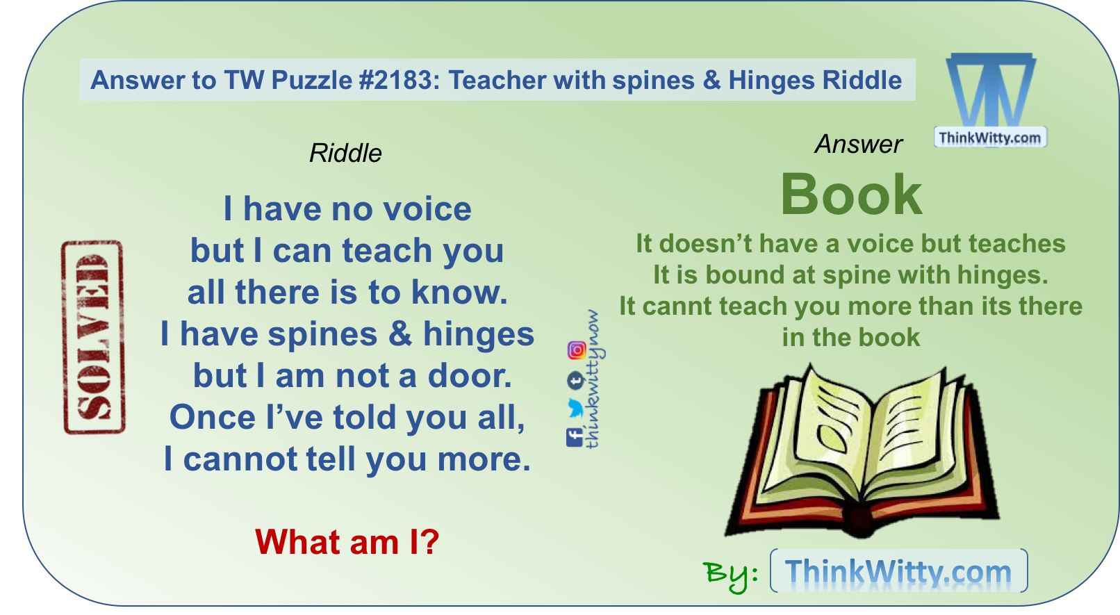 Answer to Teacher with spines & Hinges Riddle - Think Witty